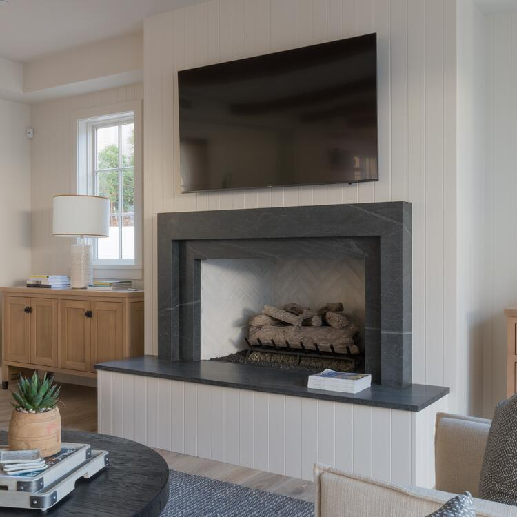 American Black Granite Fireplace