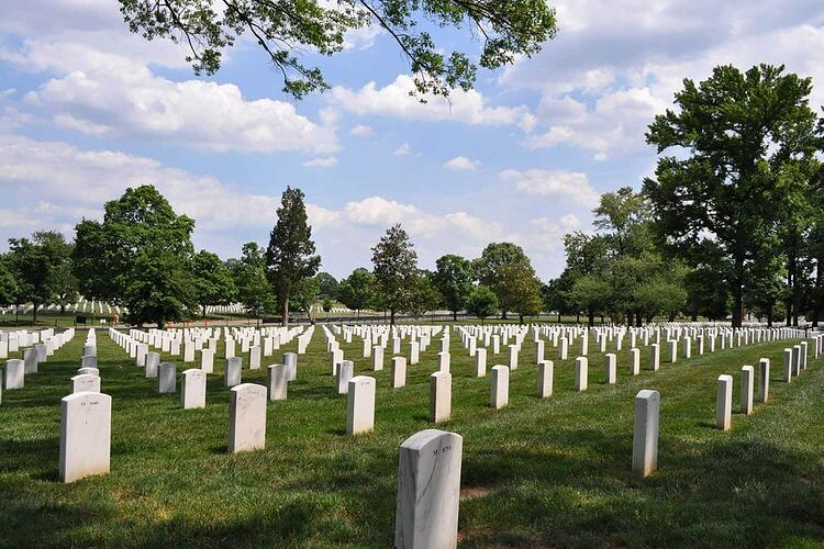 Headstones at the Arlington National Cemetery crafted from Polycor's Pearl Gray marble