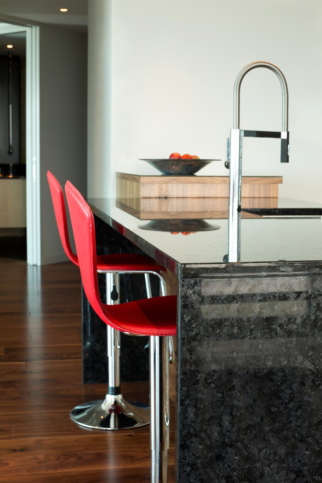 St_Henry_Black_Granite_waterfall_island_Kitchen
