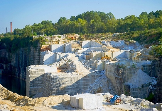 American marble quarry in Tate, Georgia owned by polycor
