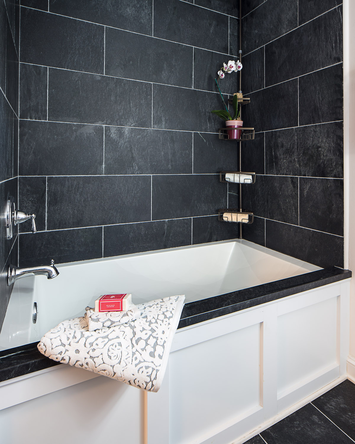 . Slip Into Something More Comfortable With a Soapstone Bathroom